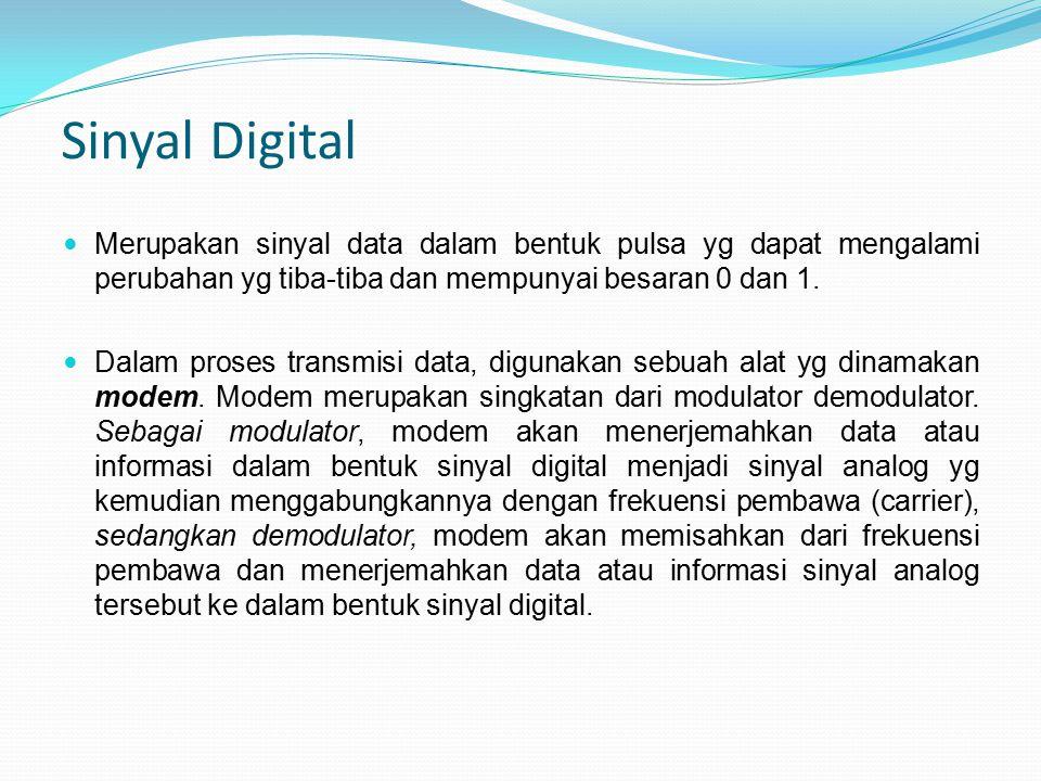 Sinyal Digital Merupakan sinyal data dalam bentuk pulsa yg dapat mengalami perubahan yg tiba-tiba dan mempunyai besaran 0 dan 1.