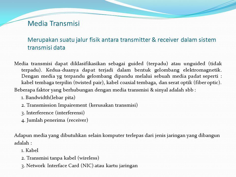 Media Transmisi Merupakan suatu jalur fisik antara transmitter & receiver dalam sistem transmisi data