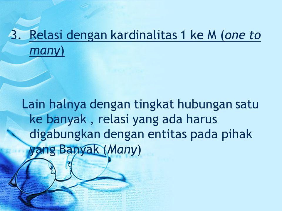 Relasi dengan kardinalitas 1 ke M (one to many)