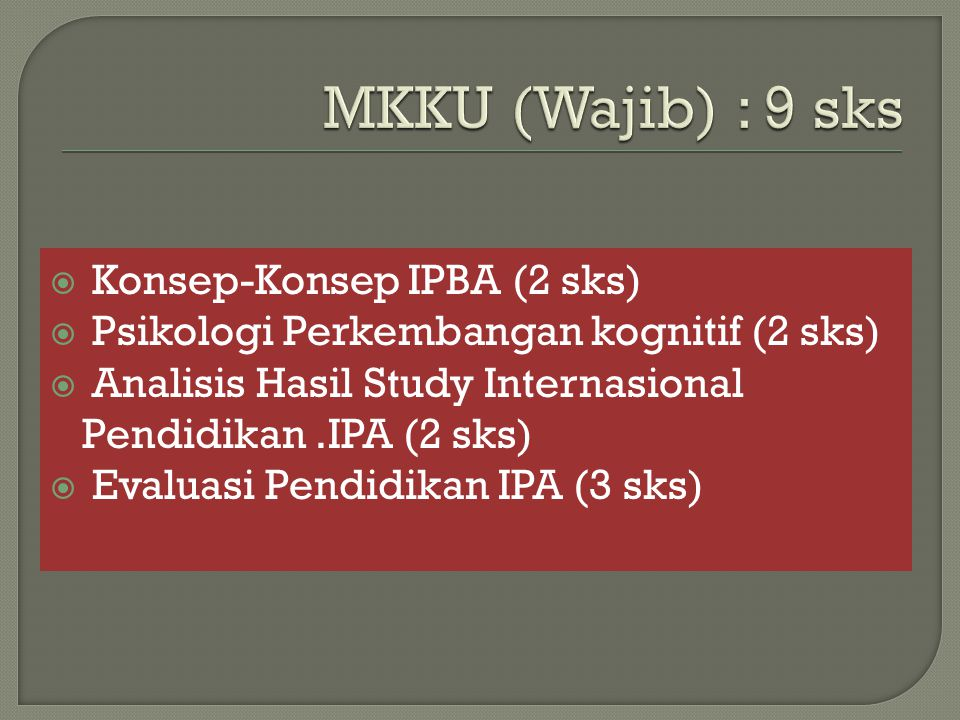 MKKU (Wajib) : 9 sks Konsep-Konsep IPBA (2 sks)