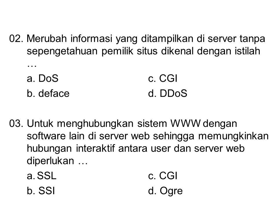 02. Merubah informasi yang ditampilkan di server tanpa sepengetahuan pemilik situs dikenal dengan istilah …