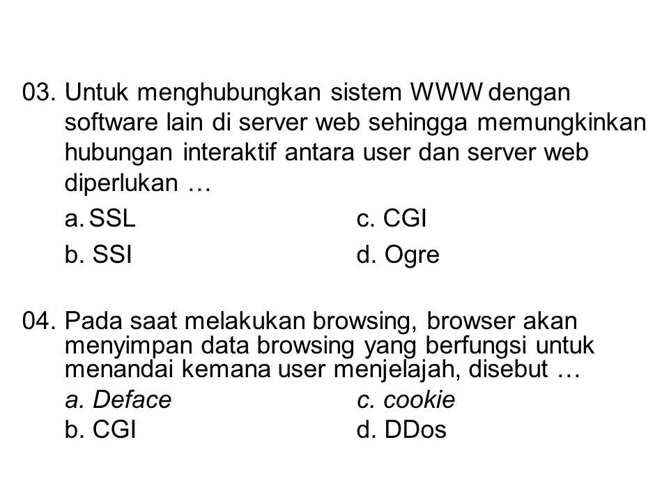 03. Untuk menghubungkan sistem WWW dengan software lain di server web sehingga memungkinkan hubungan interaktif antara user dan server web diperlukan …