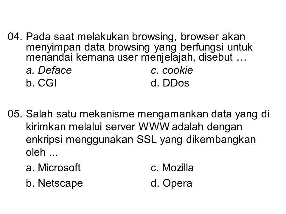 04. Pada saat melakukan browsing, browser akan menyimpan data browsing yang berfungsi untuk menandai kemana user menjelajah, disebut …