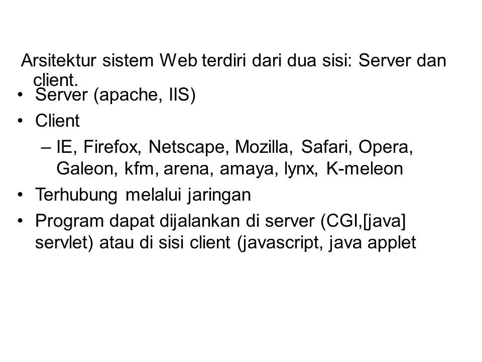 Arsitektur sistem Web terdiri dari dua sisi: Server dan client.
