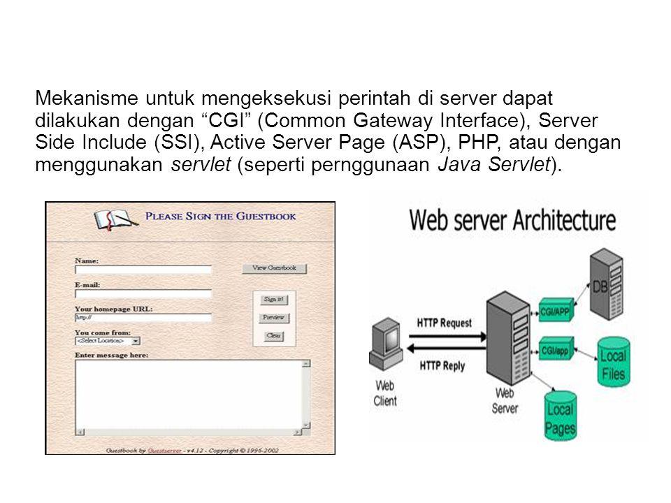 Mekanisme untuk mengeksekusi perintah di server dapat dilakukan dengan CGI (Common Gateway Interface), Server Side Include (SSI), Active Server Page (ASP), PHP, atau dengan menggunakan servlet (seperti pernggunaan Java Servlet).