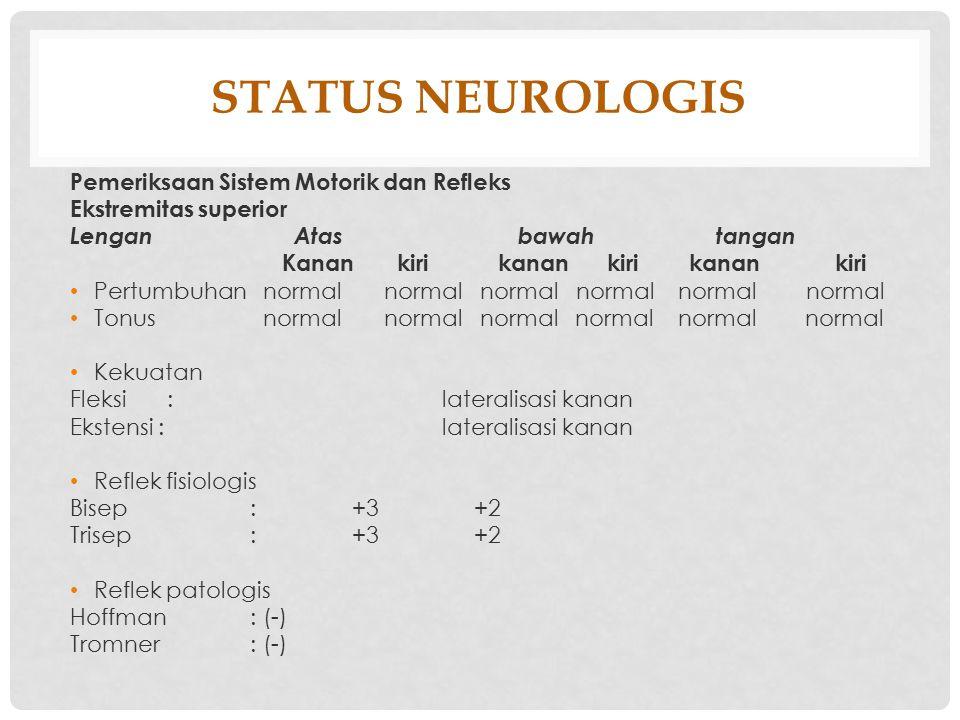 STATUS NEUROLOGIS Pemeriksaan Sistem Motorik dan Refleks
