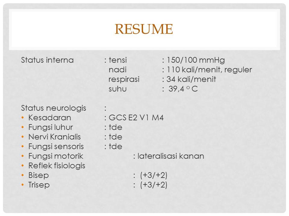 RESUME Status interna : tensi : 150/100 mmHg