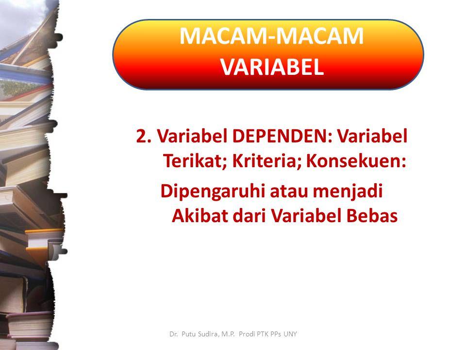 MACAM-MACAM VARIABEL 2. Variabel DEPENDEN: Variabel Terikat; Kriteria; Konsekuen: Dipengaruhi atau menjadi Akibat dari Variabel Bebas.