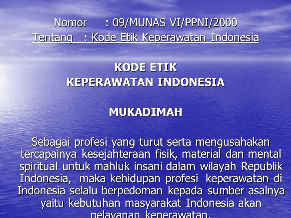 Nomor : 09/MUNAS VI/PPNI/2000