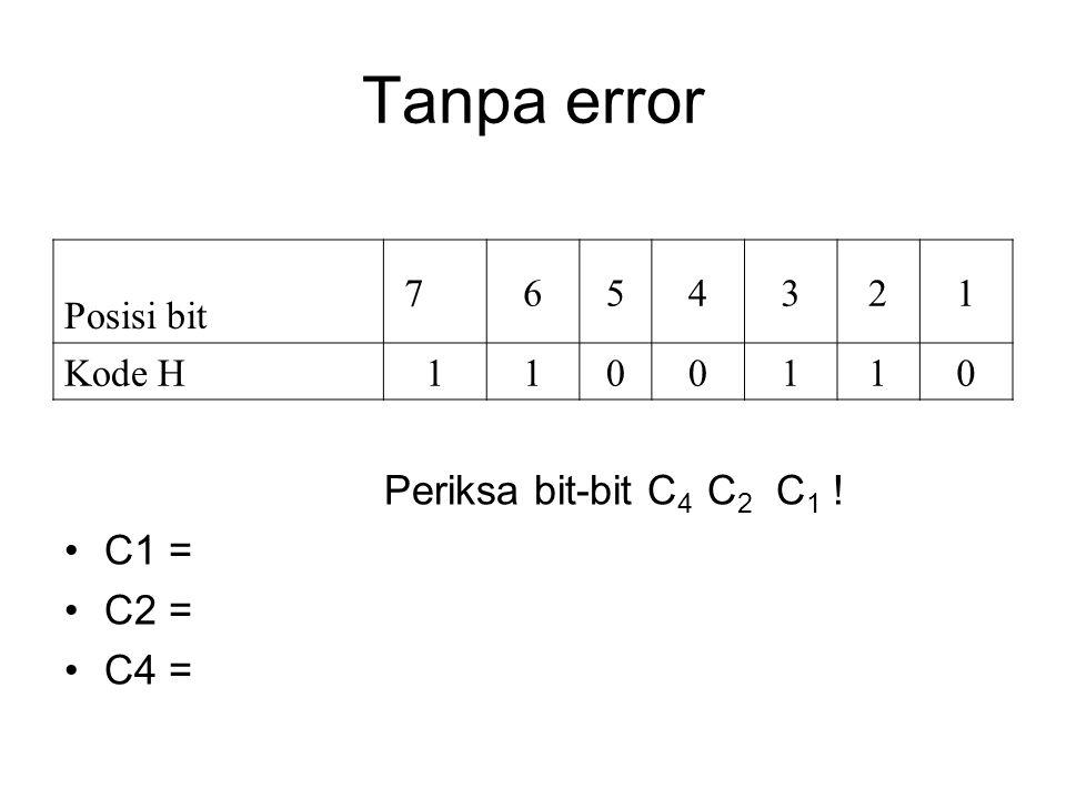 Tanpa error Periksa bit-bit C4 C2 C1 ! C1 = C2 = C4 = Posisi bit 7 6 5