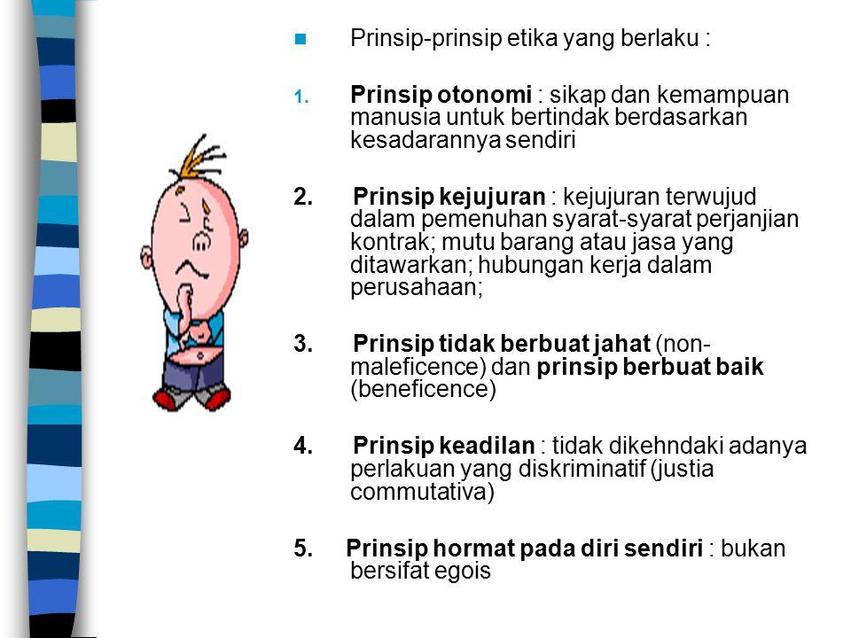 Prinsip-prinsip etika yang berlaku :