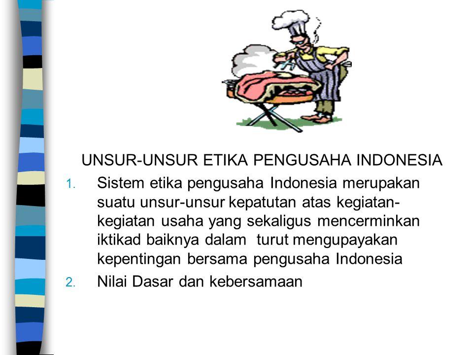 UNSUR-UNSUR ETIKA PENGUSAHA INDONESIA