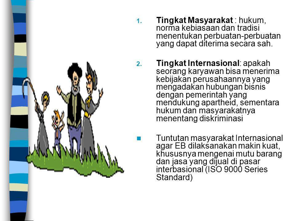 Tingkat Masyarakat : hukum, norma kebiasaan dan tradisi menentukan perbuatan-perbuatan yang dapat diterima secara sah.