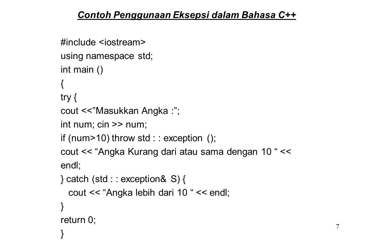 Contoh Penggunaan Eksepsi dalam Bahasa C++