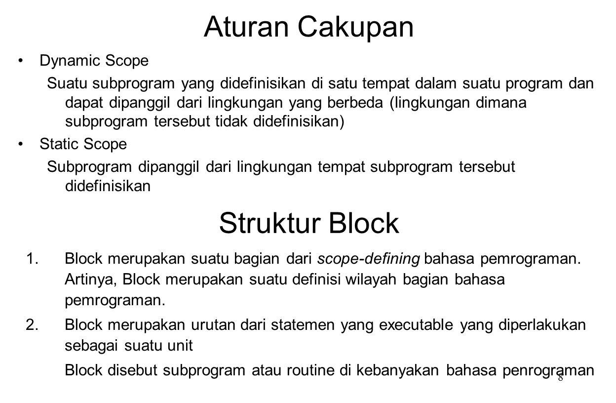 Aturan Cakupan Struktur Block Dynamic Scope