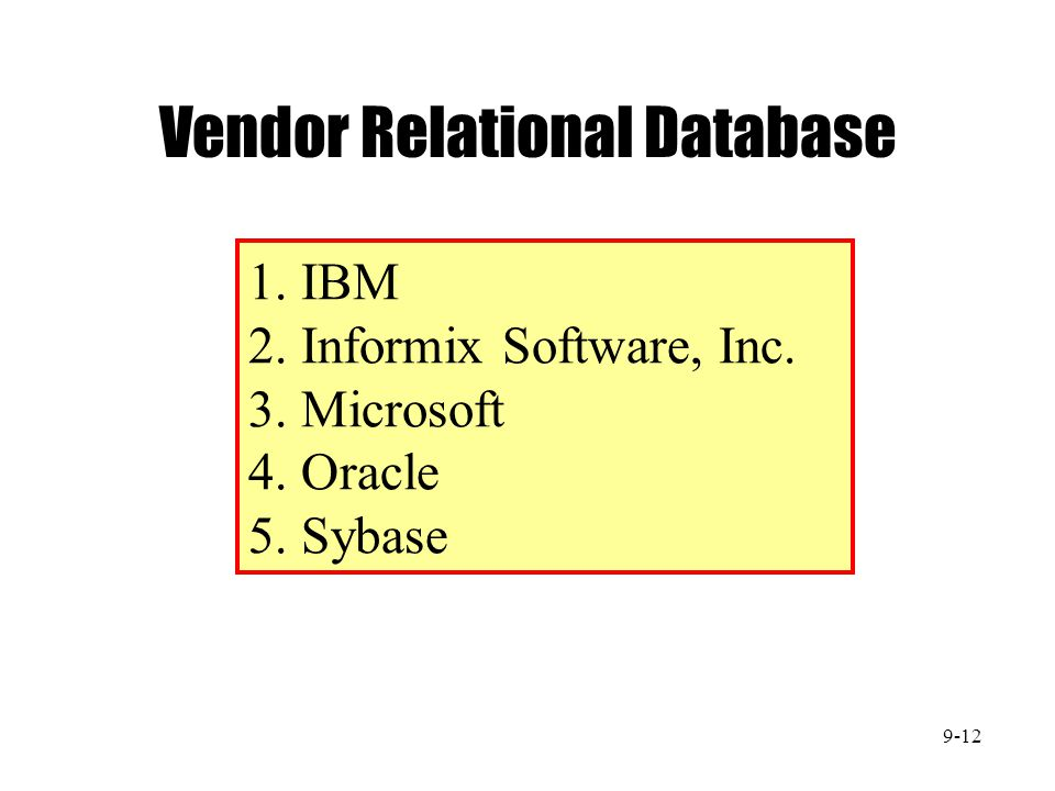 Vendor Relational Database