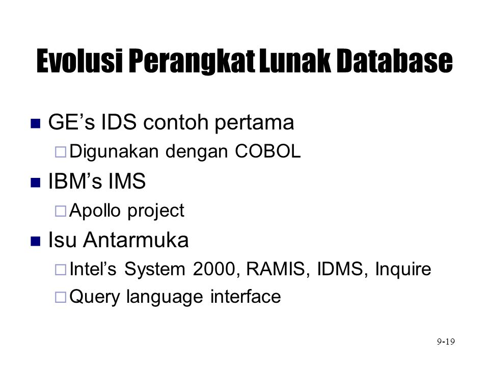 Evolusi Perangkat Lunak Database