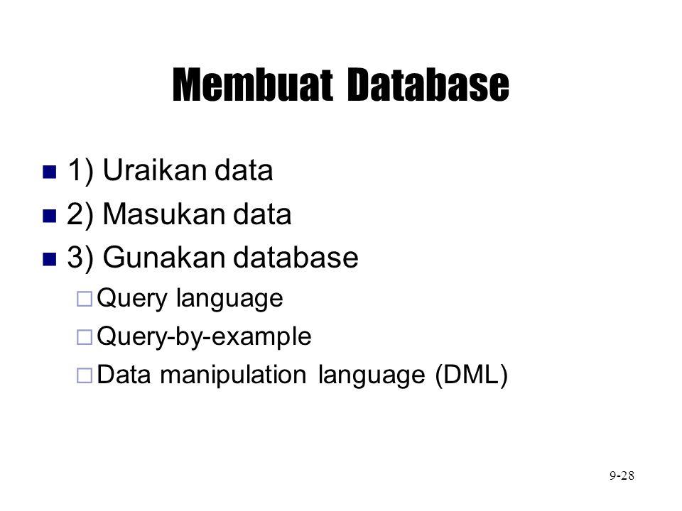 Membuat Database 1) Uraikan data 2) Masukan data 3) Gunakan database