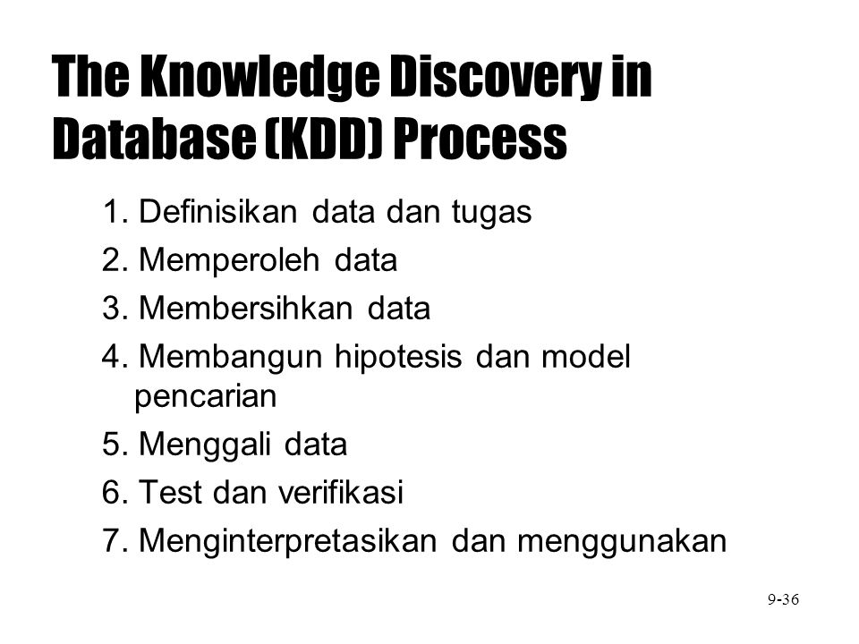The Knowledge Discovery in Database (KDD) Process