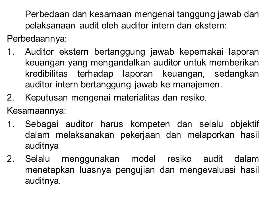 Perbedaan dan kesamaan mengenai tanggung jawab dan pelaksanaan audit oleh auditor intern dan ekstern: