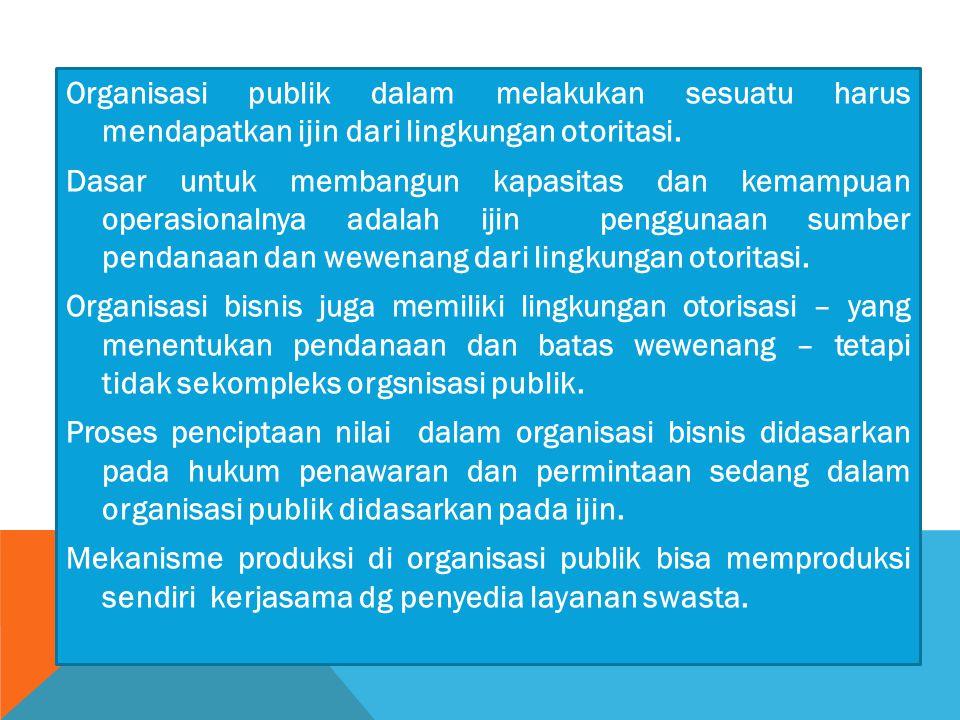 Organisasi publik dalam melakukan sesuatu harus mendapatkan ijin dari lingkungan otoritasi.