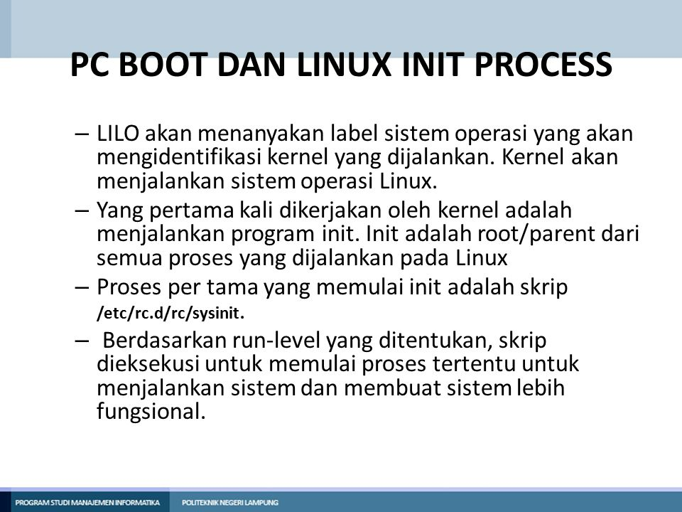 PC BOOT DAN LINUX INIT PROCESS