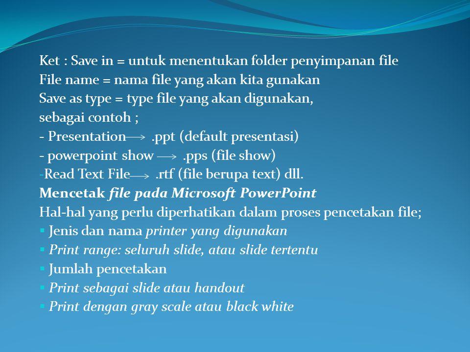 Ket : Save in = untuk menentukan folder penyimpanan file