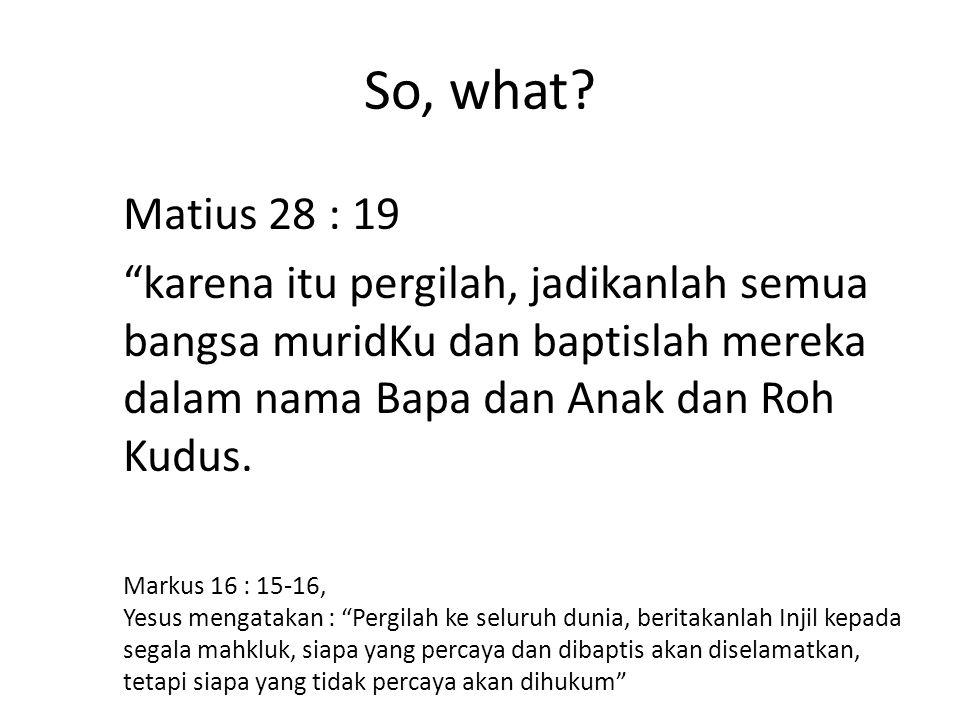 So, what Matius 28 : 19 karena itu pergilah, jadikanlah semua bangsa muridKu dan baptislah mereka dalam nama Bapa dan Anak dan Roh Kudus.