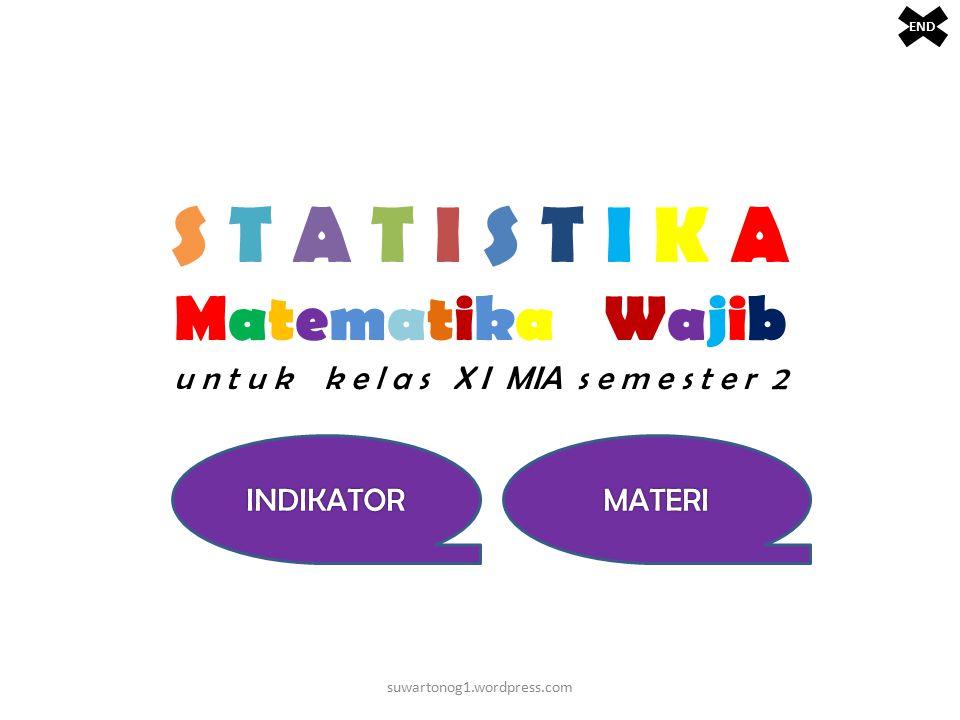 END S T A T I S T I K A Matematika Wajib u n t u k k e l a s X I MIA s e m e s t e r 2. INDIKATOR.