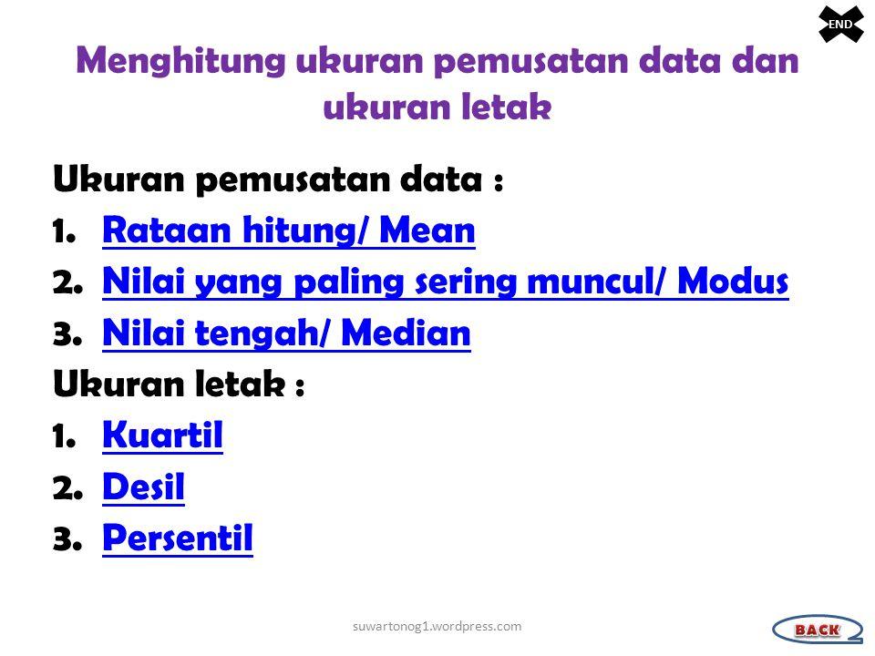 Menghitung ukuran pemusatan data dan ukuran letak