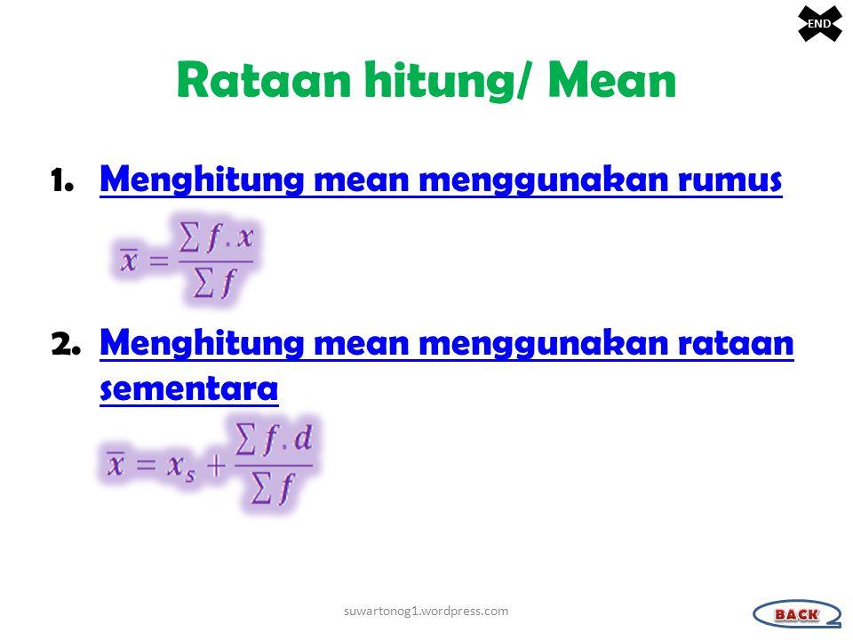 Rataan hitung/ Mean Menghitung mean menggunakan rumus
