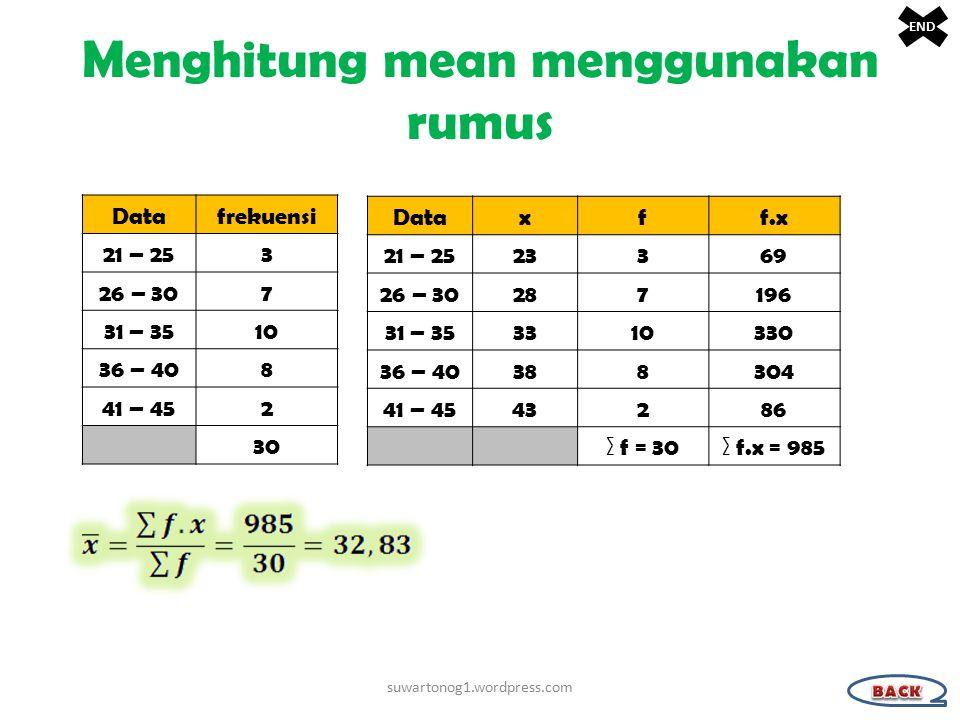 Menghitung mean menggunakan rumus