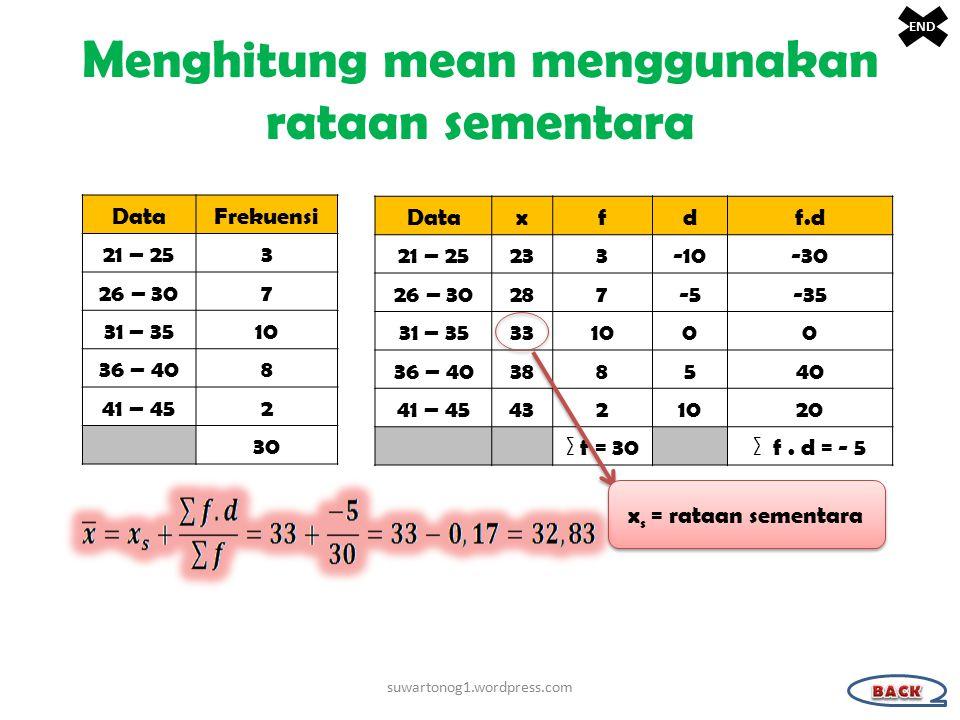 Menghitung mean menggunakan rataan sementara