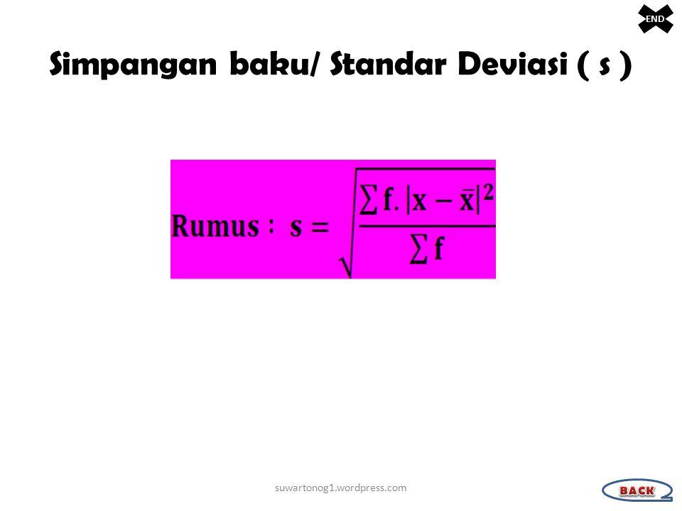 Simpangan baku/ Standar Deviasi ( s )