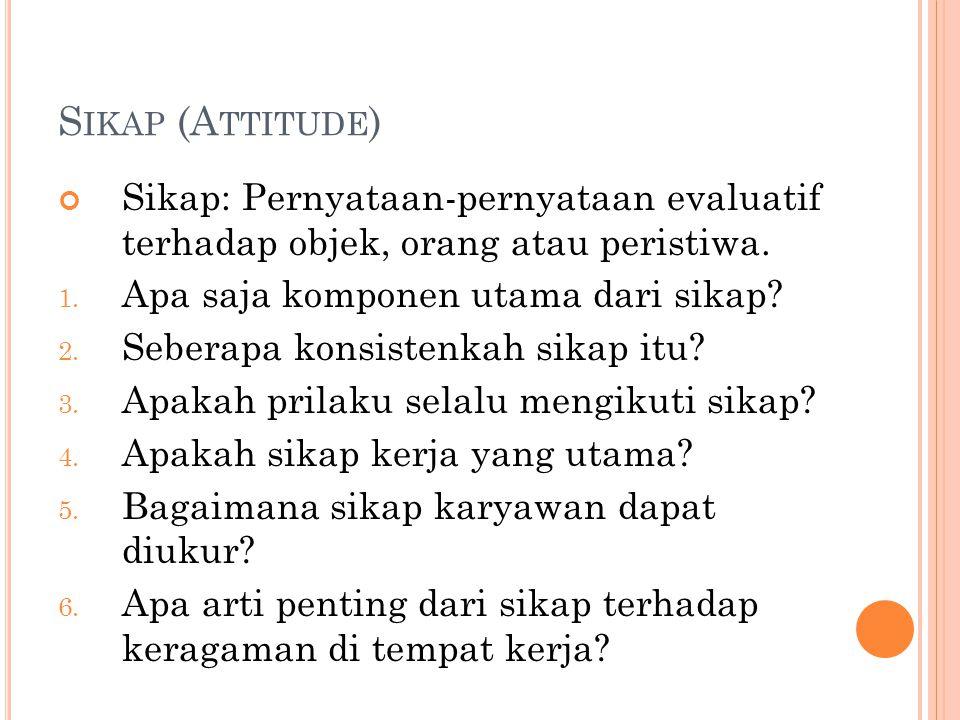 Sikap (Attitude) Sikap: Pernyataan-pernyataan evaluatif terhadap objek, orang atau peristiwa. Apa saja komponen utama dari sikap