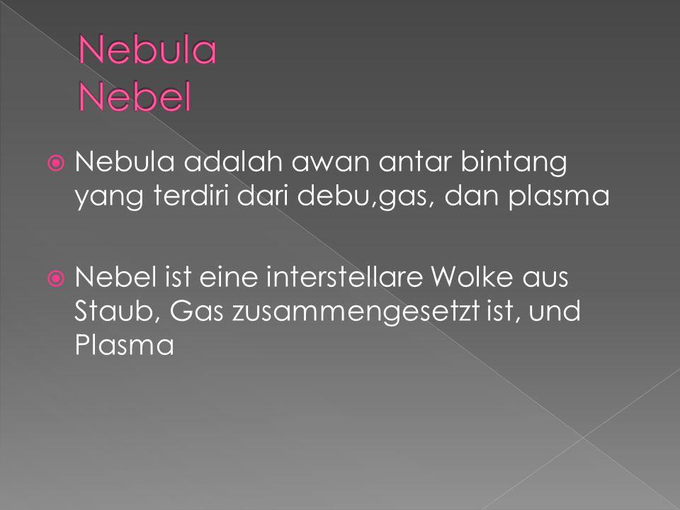 Nebula Nebel Nebula adalah awan antar bintang yang terdiri dari debu,gas, dan plasma.