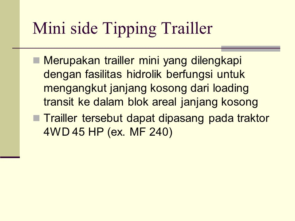 Mini side Tipping Trailler