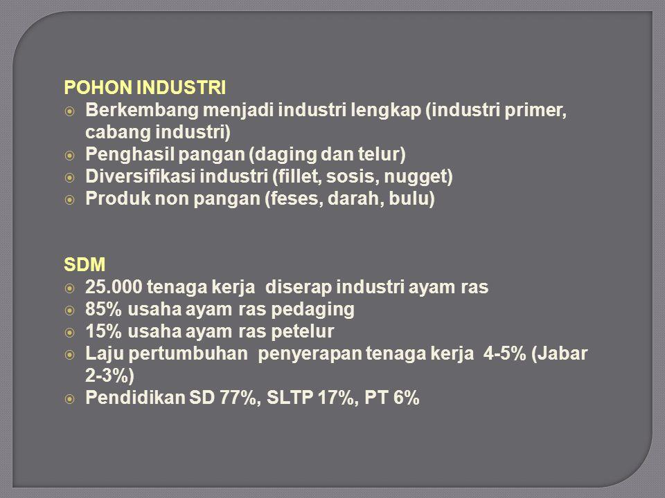 POHON INDUSTRI Berkembang menjadi industri lengkap (industri primer, cabang industri) Penghasil pangan (daging dan telur)
