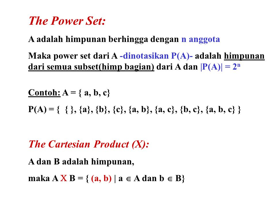 The Power Set: The Cartesian Product (X):