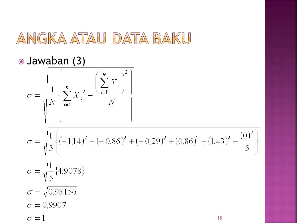 Angka atau data baku Jawaban (3)