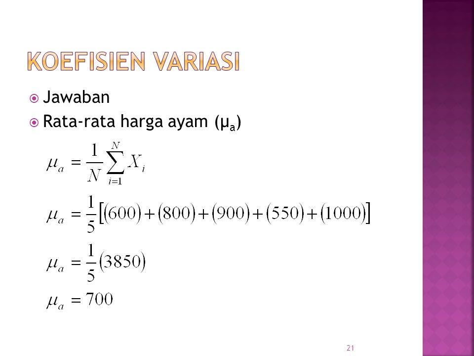 KOEFISIEN VARIASI Jawaban Rata-rata harga ayam (μa)