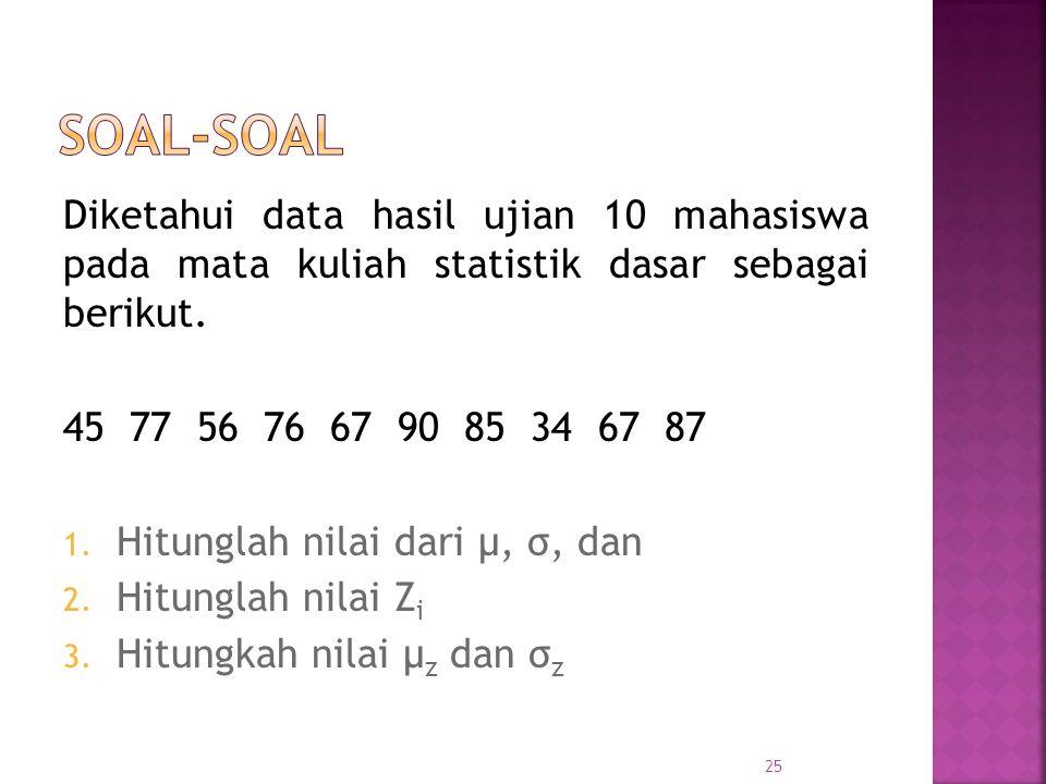 Soal-soal Diketahui data hasil ujian 10 mahasiswa pada mata kuliah statistik dasar sebagai berikut.