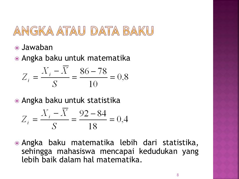 ANGKA ATAU DATA BAKU Jawaban Angka baku untuk matematika