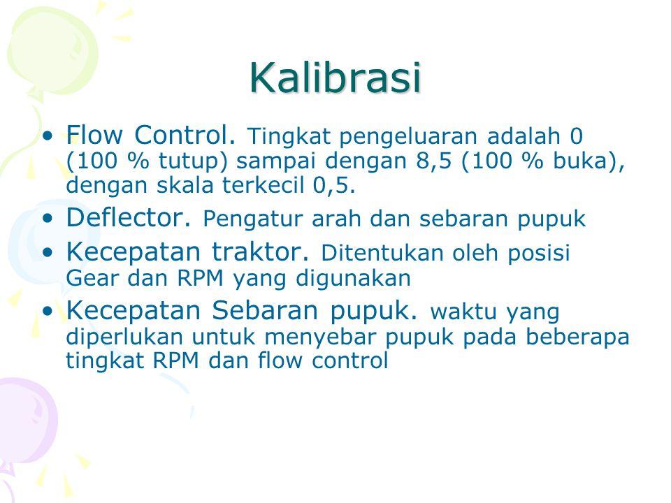 Kalibrasi Flow Control. Tingkat pengeluaran adalah 0 (100 % tutup) sampai dengan 8,5 (100 % buka), dengan skala terkecil 0,5.