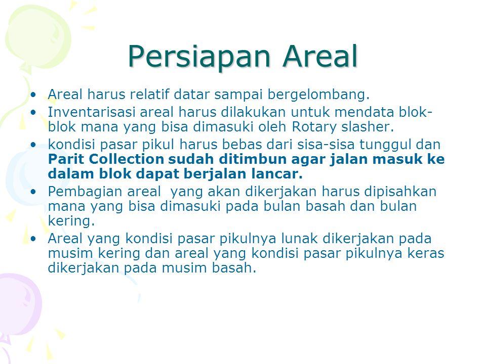 Persiapan Areal Areal harus relatif datar sampai bergelombang.