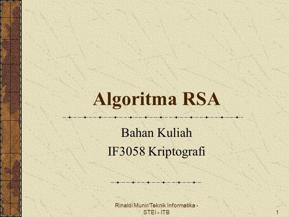 Bahan Kuliah IF3058 Kriptografi