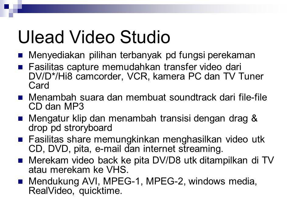 Ulead Video Studio Menyediakan pilihan terbanyak pd fungsi perekaman
