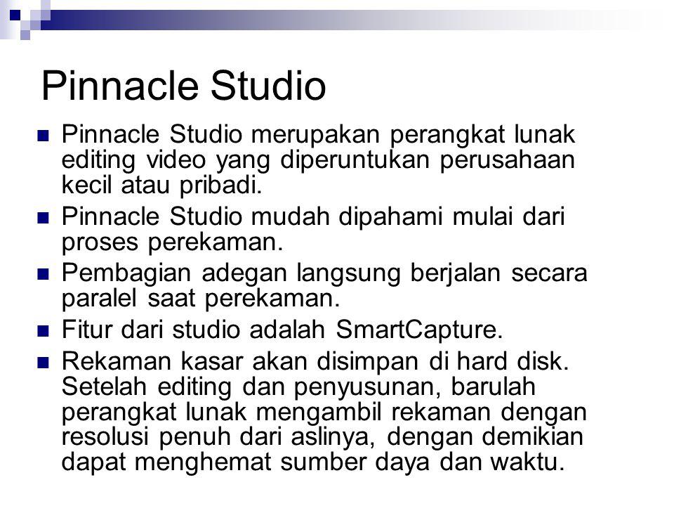 Pinnacle Studio Pinnacle Studio merupakan perangkat lunak editing video yang diperuntukan perusahaan kecil atau pribadi.
