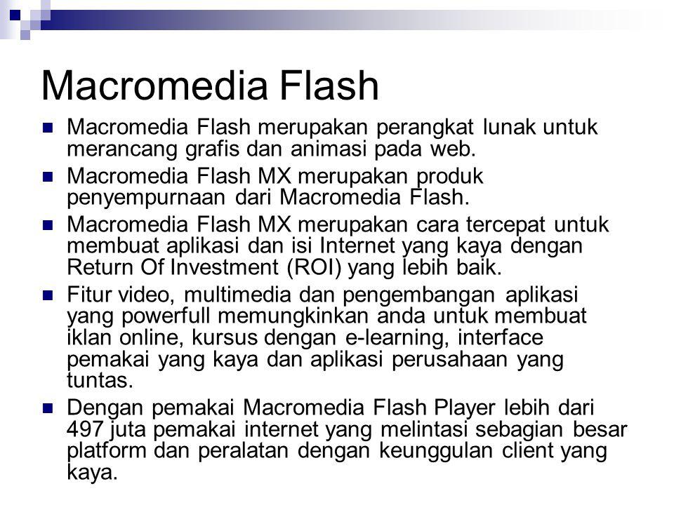 Macromedia Flash Macromedia Flash merupakan perangkat lunak untuk merancang grafis dan animasi pada web.