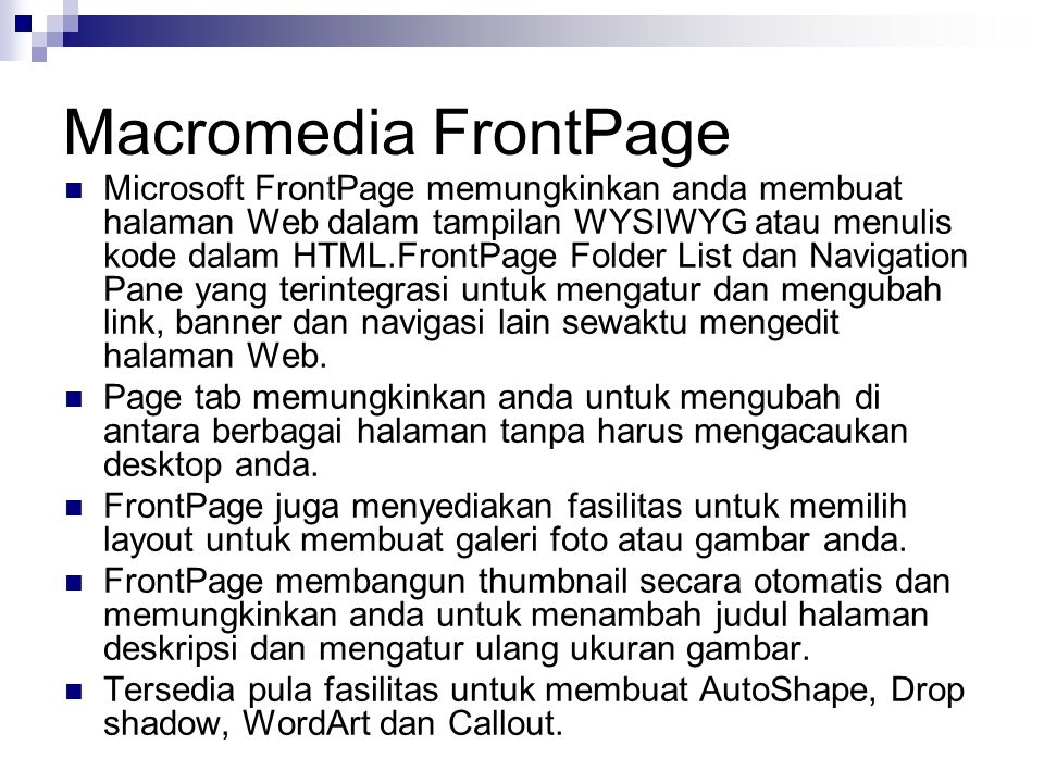 Macromedia FrontPage